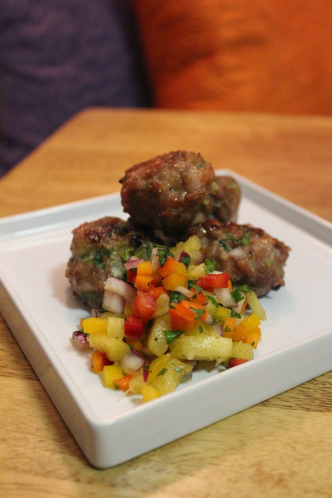 Glistening like Beyoncé: Jerk Chicken Meatballs with Pineapple Salsa
