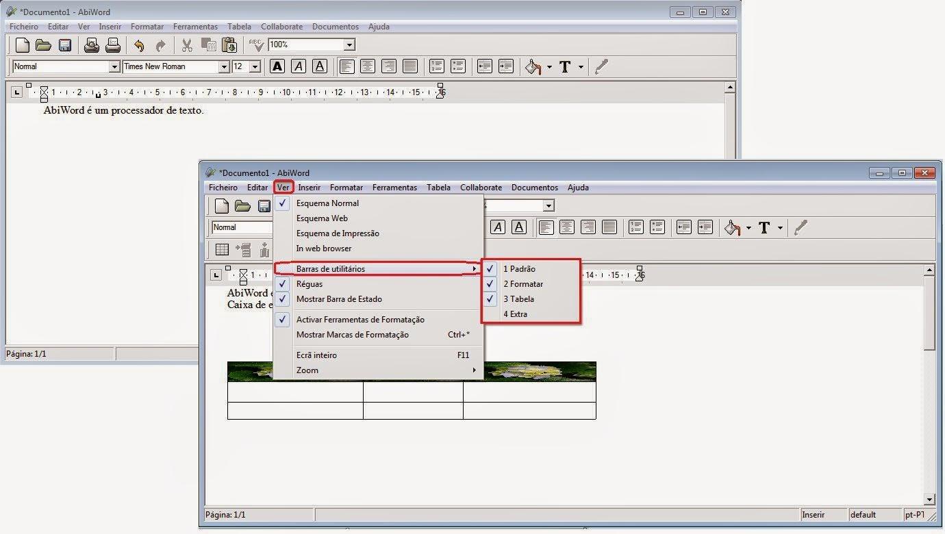AbiWord|Configurando o menu de topo
