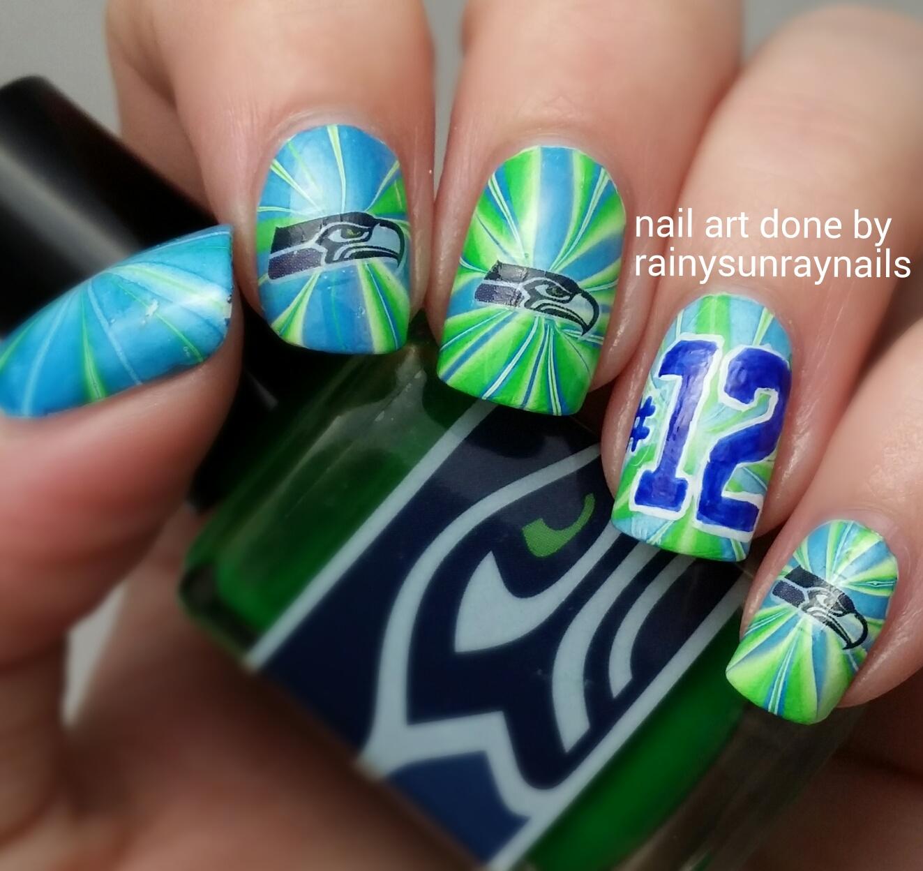 rainysunraynails: Seahawks Nails!!! Go Hawks!!! 12