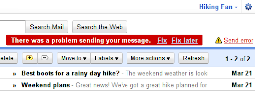 Gmail Labs, pozadinsko slanje Background Send