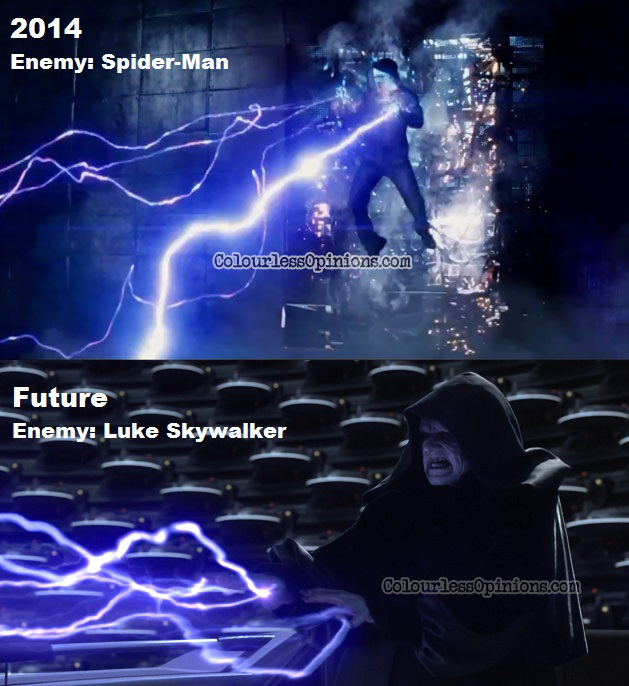 Spiderman 2 Electro Star Wars emperor lighting movie meme