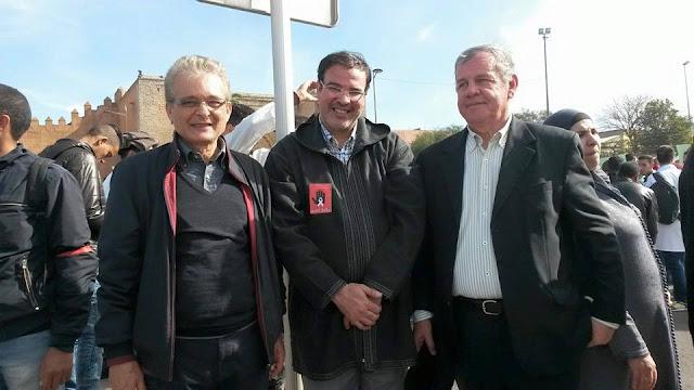 محمد الدريج رفقة عبد الرحيم العطري و عبد الله الخياري في مسيرة الاساتذة 24 يناير 2016