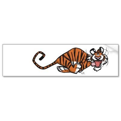 Cartoon Running Tiger bumper sticker by Lioness_Graphics. Go Tiger !