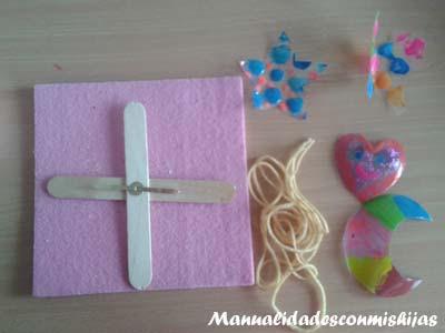 Manualidades infantiles: Haciendo un móvil infantil con las figuras pintadas