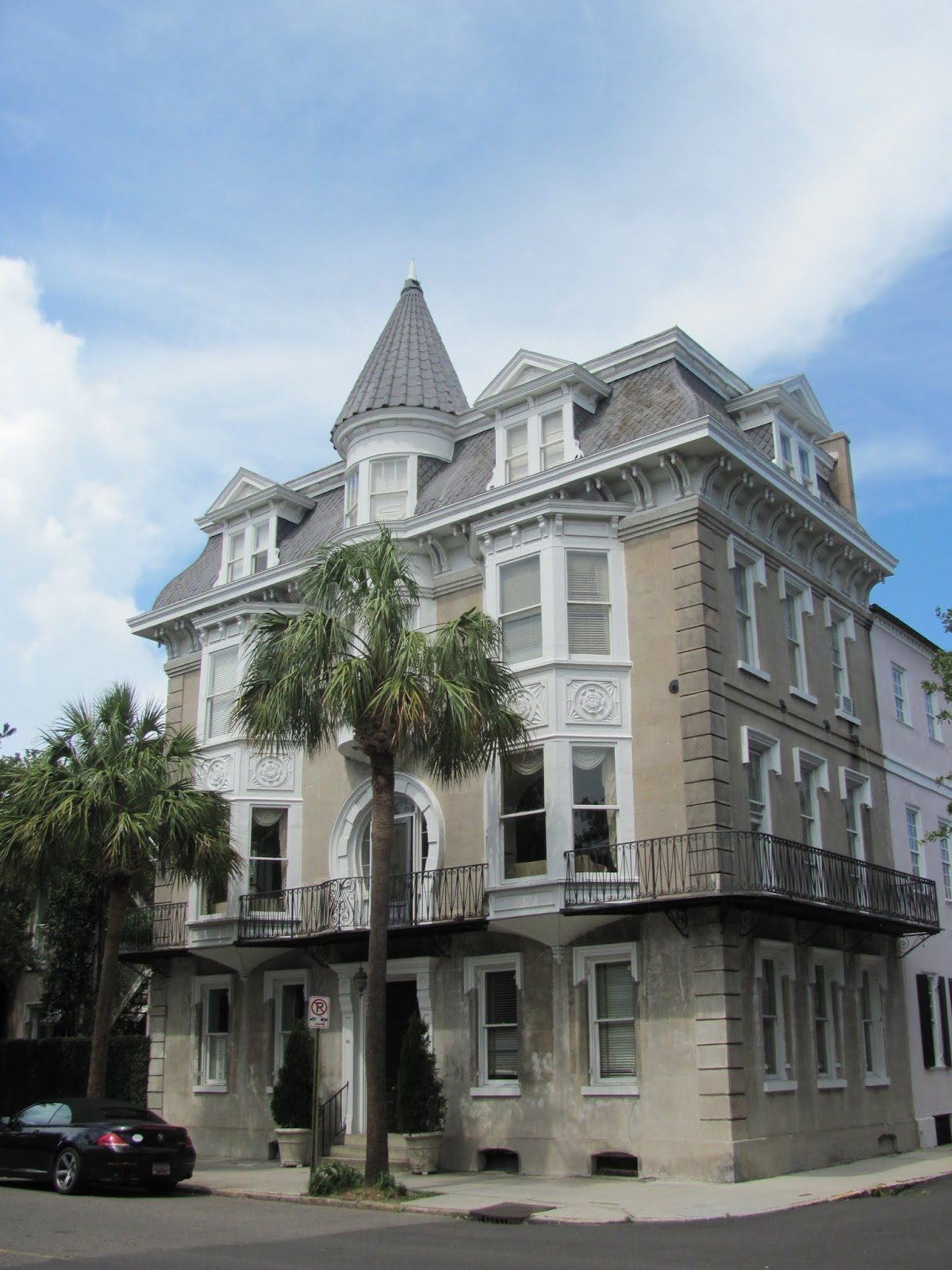 Graystone building on the corner in Charleston, SC