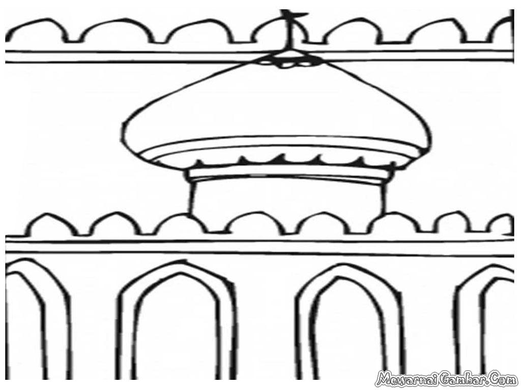 Gambar Mewarnai Rumah Poster Rebanas Masjid Ibadah