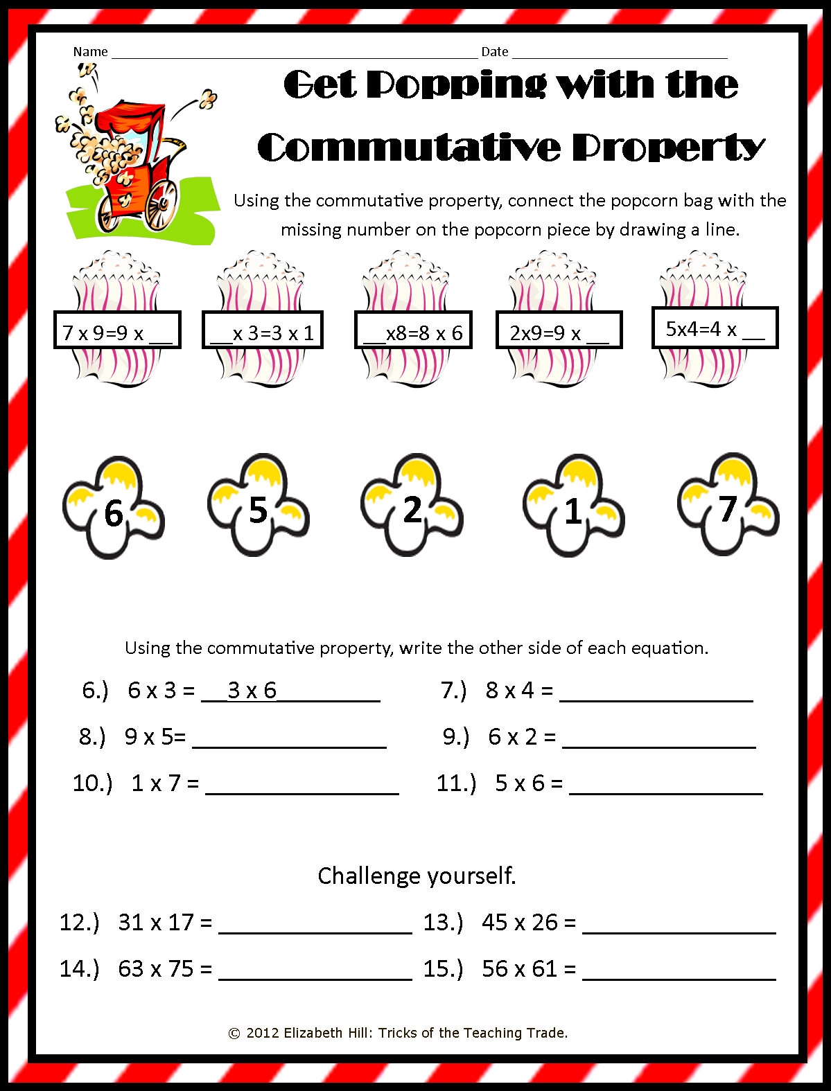 Mrs Hills Perfect PIRATES October 2012 – Properties of Multiplication Worksheet