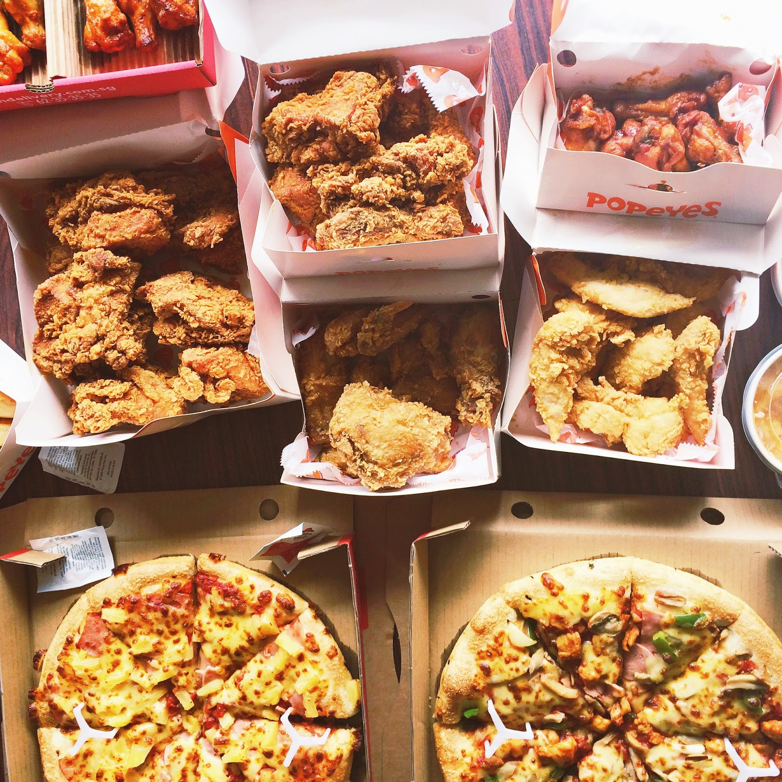 Popeyes chicken, pizza, pizzahut, feast