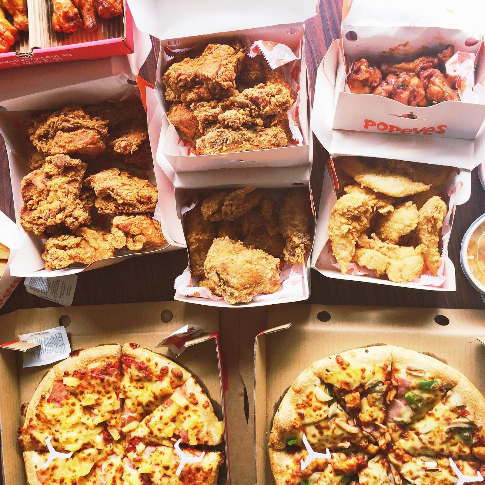 Popeyes chicken, pizza, pizzahut, feast