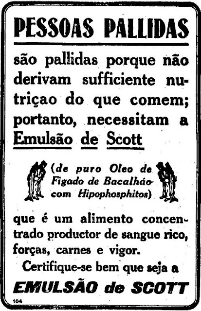 Propaganda do Emulsão Scott em 1913 - campanha para acabar com a palidez das pessoas.
