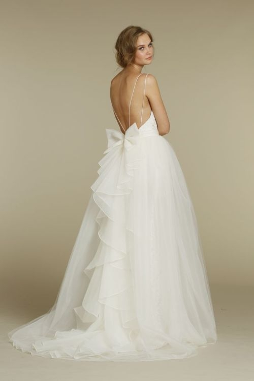 Silk Wedding Dresses Low Back Tulle Wedding Gown Low-back