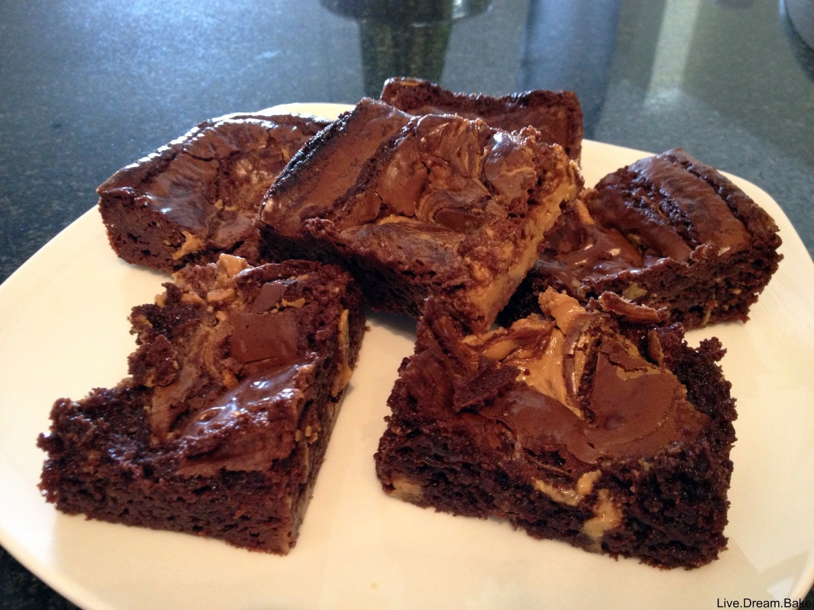 Livedreamke Decadent Double Chocolate Peanut Butter Brownies