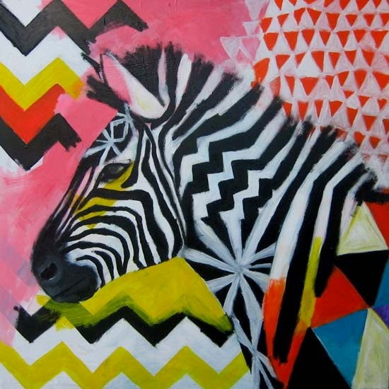 Safari Fusion blog | Zebra crossing | 'Carnivale' painting by Emma Gale proudly displayed in the Safari Fusion studio