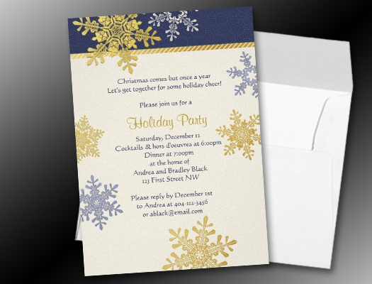 Navy Blue Gold Snowflake Winter Christmas Holiday invitations