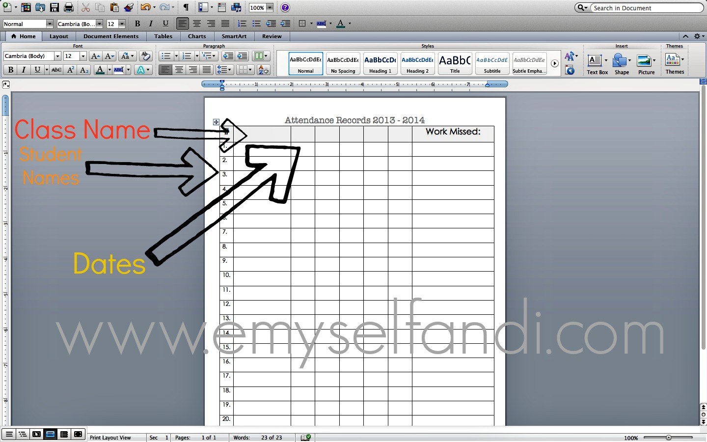 how to create an attendance sheet in excel
