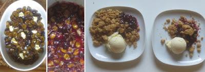 Zubereitung Pflaumen, Streusel, Vanilleeis