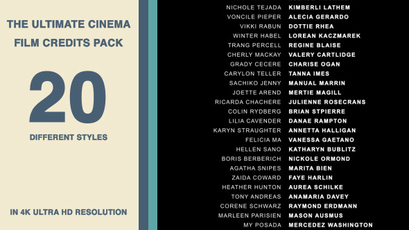 VideoHive 20 Cinema Film Credits Pack
