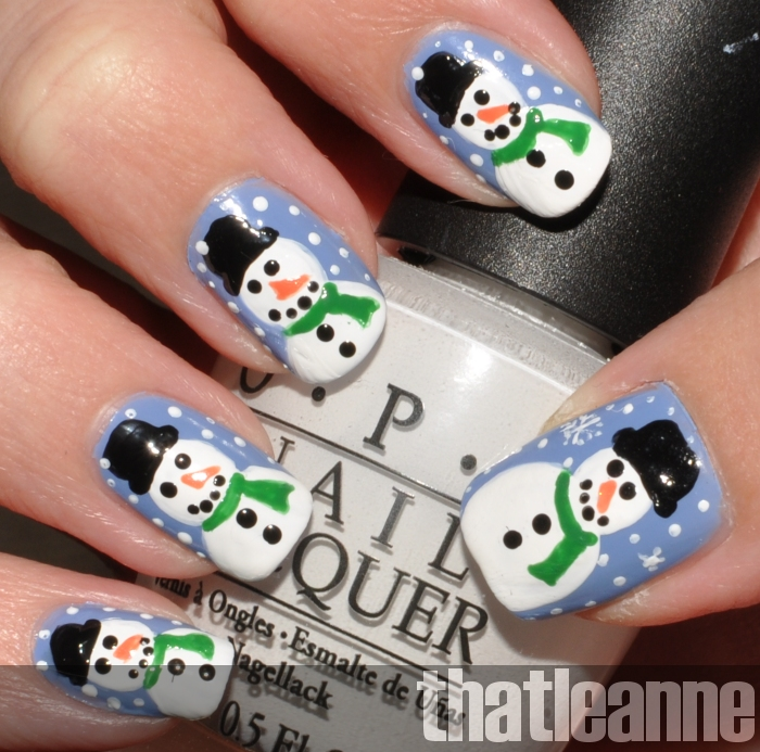 Thatleanne snowman nail art how to and lastly added some snowy dots in the background and were all done prinsesfo Images