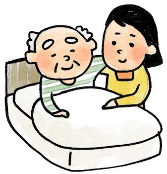 介護のイラスト「ベッドのおじいさん」