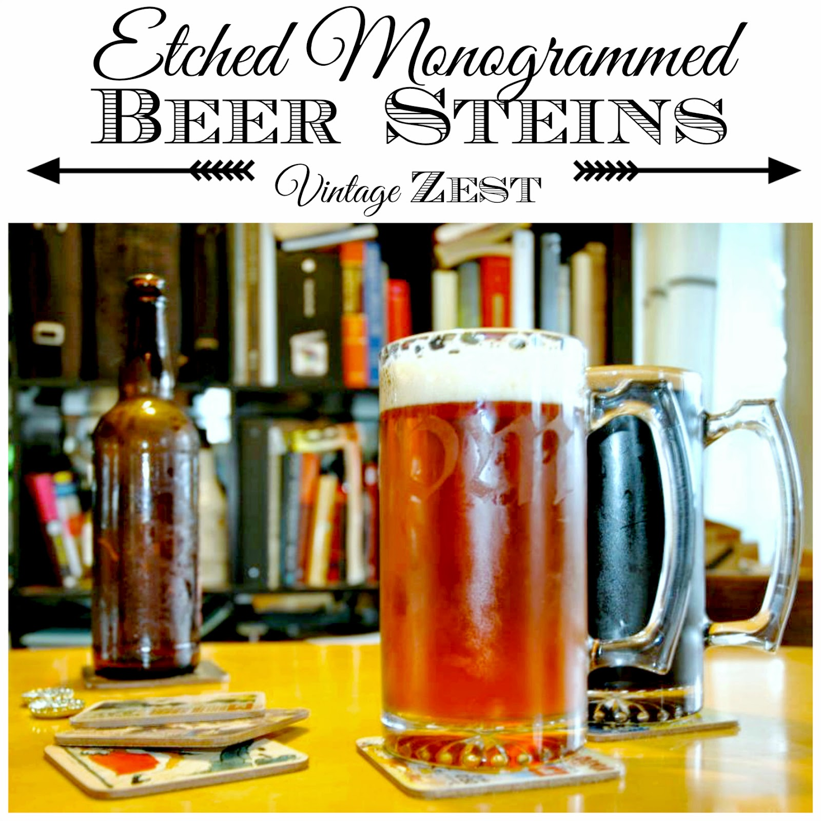 Etched Beer Steins on Diane's Vintage Zest!