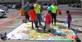 Youth using the Risk game board
