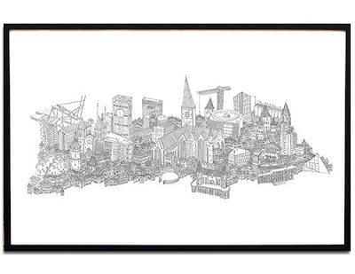 Aarhus print af illustrator, artist og håndværker Daniel van der Noon