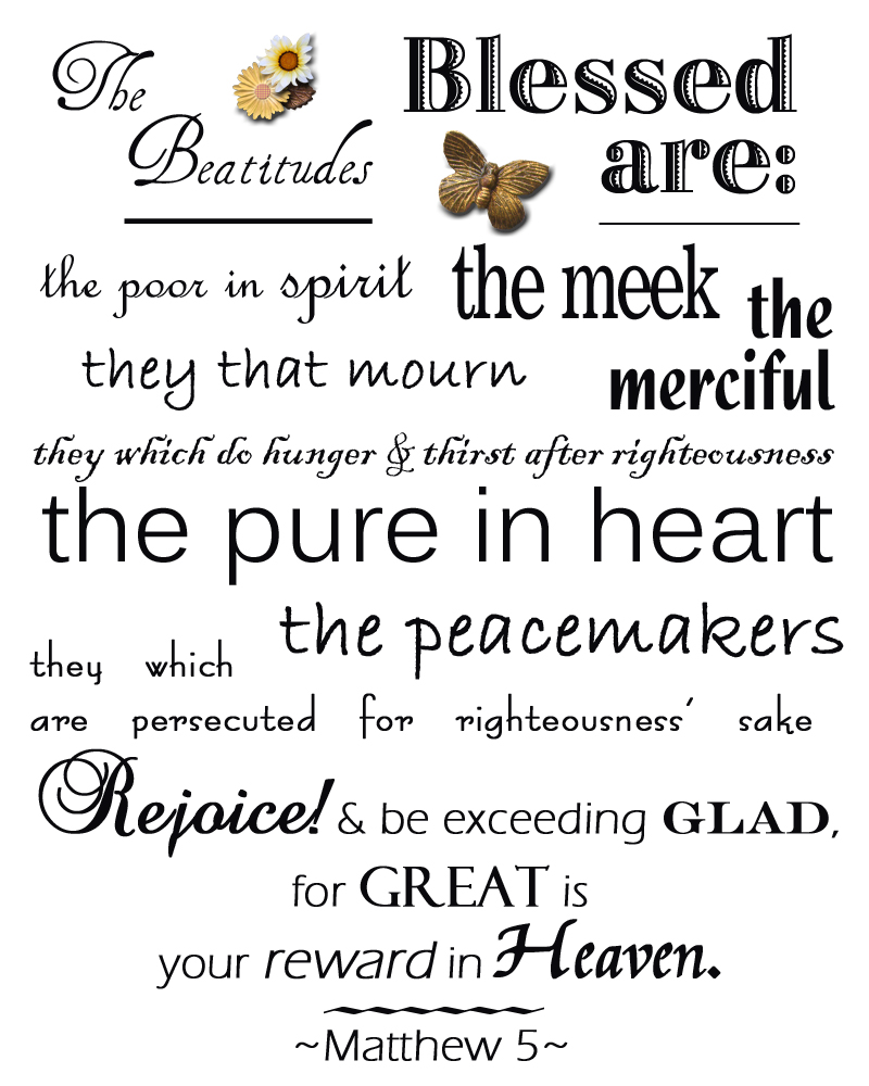 Ambitious image for printable beatitudes