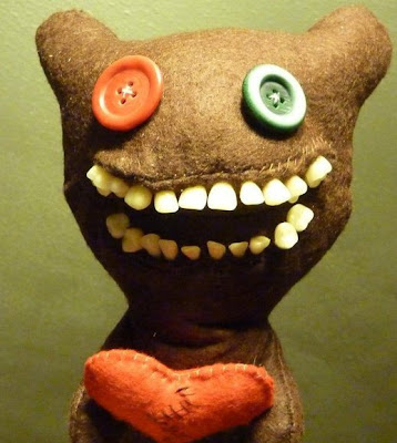Frightful stuffed animals with human teeth