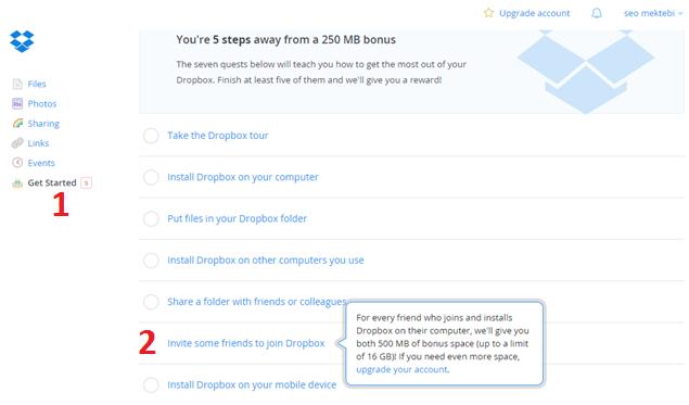 Dropbox Dosya Yükleme ve Paylaşma