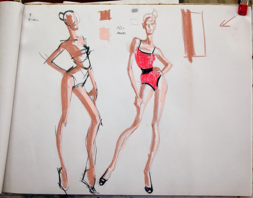 Contour Line Drawing Face : Otis fashion model drawing 3: 3 week