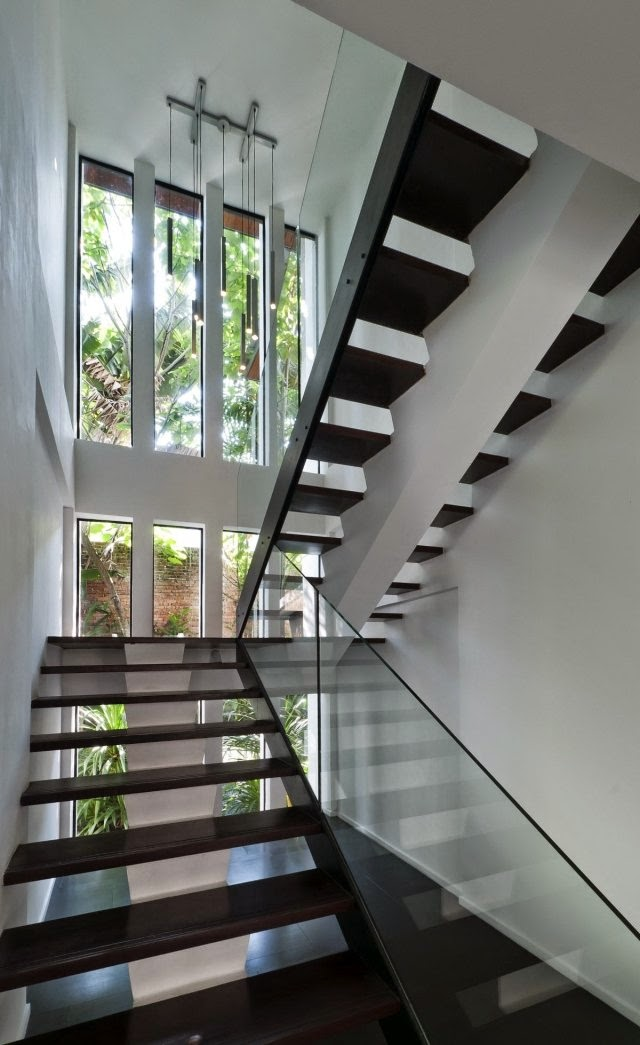 Modern stairs designs half turn staircase design with for Stair designs interior
