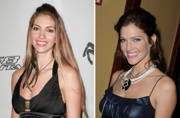 Dawn Olivieri and Tricia Helfer side by side, Celebrity look-a-like, Beautiful woman, Hollywood actress, sexy woman