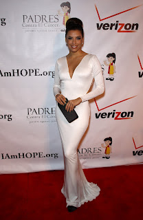 Eva Longoria looks hot in a white dress