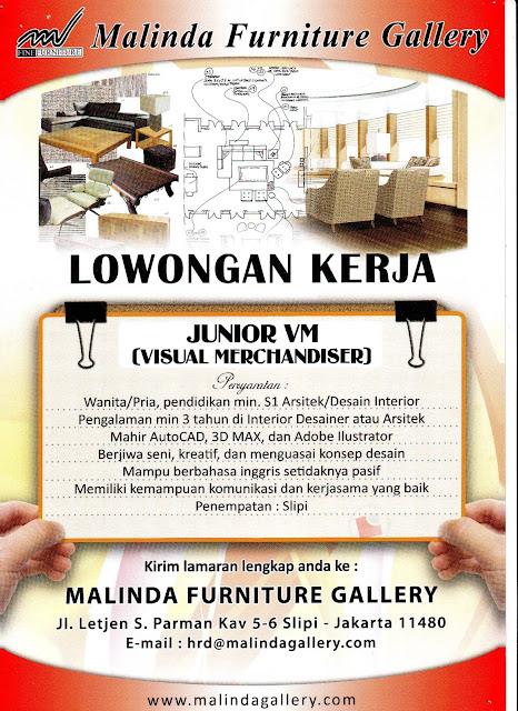 Malinda Furniture Gallery Sangat Membutuhkan Junior Visual Merchandiser
