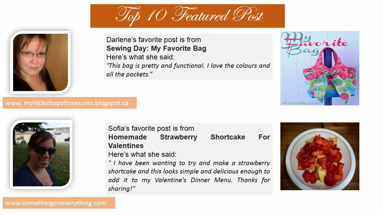 Top 10 POst from Pin it Monday Hop. Sewing Day: My Favorite Bag. Homemade Strawberry Shortcake For Valentines