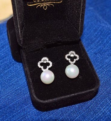 orrous legacy 18k Gold Plated White Shell Pearl with Cubic Zirconia Clover Drop Earrings