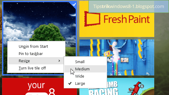 menu konteks di start screen windows 8.1