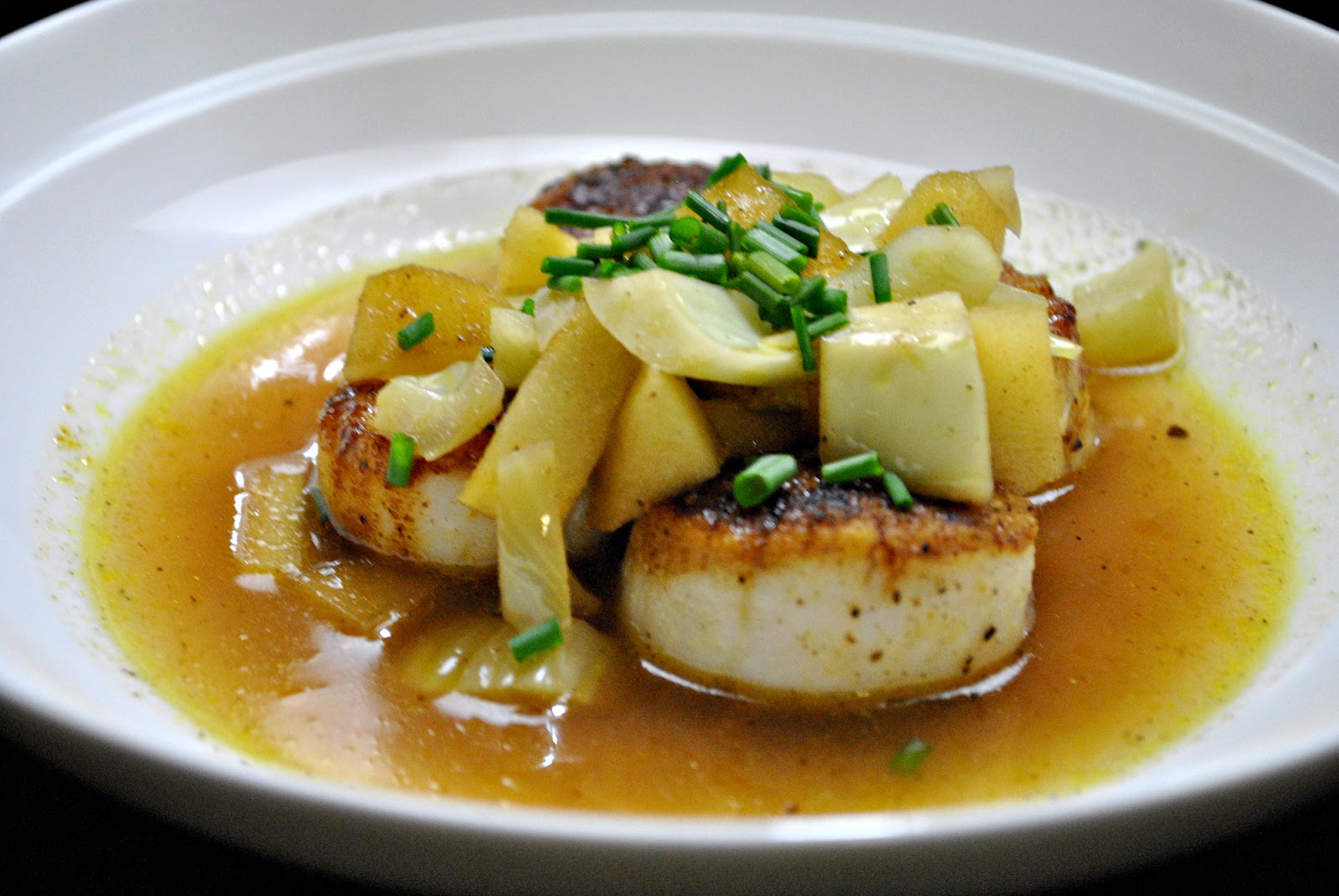 ... with Little Buddy: Curry-Dusted Scallops with Fennel Apple Broth