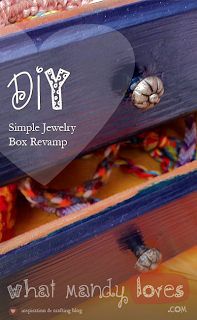 DIY Simple Jewelry Box Revamp (July's Jewelry Theme) via www.whatmandyloves.com