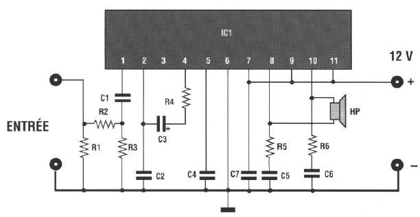 schema amplificateur de puissance 20w booster auto moto pour autoradio 20 watts. Black Bedroom Furniture Sets. Home Design Ideas