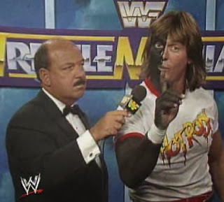 WWF / WWE: Wrestlemania 6 - Rowdy Roddy Piper painted half his body black to fight Bad News Brown. Nobody asked why.
