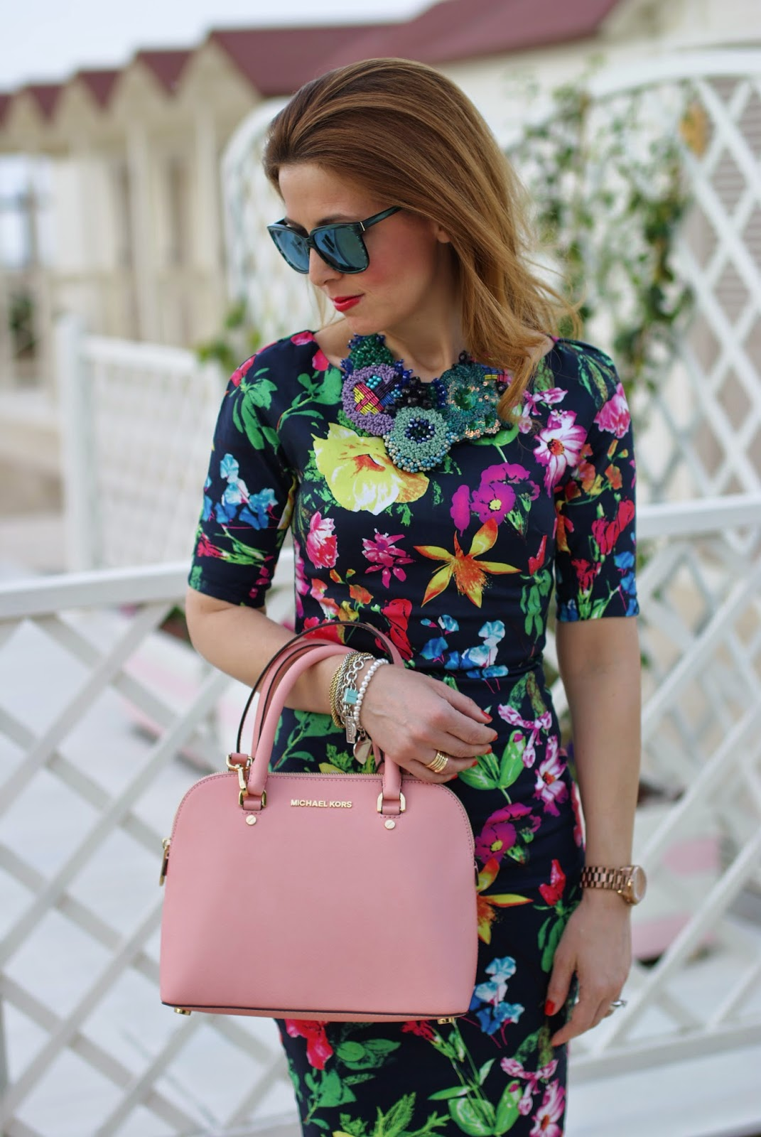 pink bag, SimonaB bijoux necklace, floral dress, Ax Paris, Fashion and Cookies fashion blog, fashion blogger