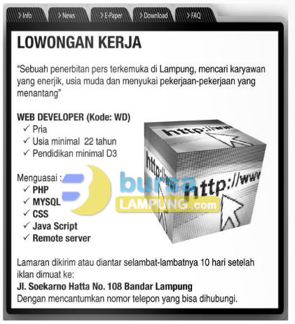 Recruitment Web Developer di Lampung Post