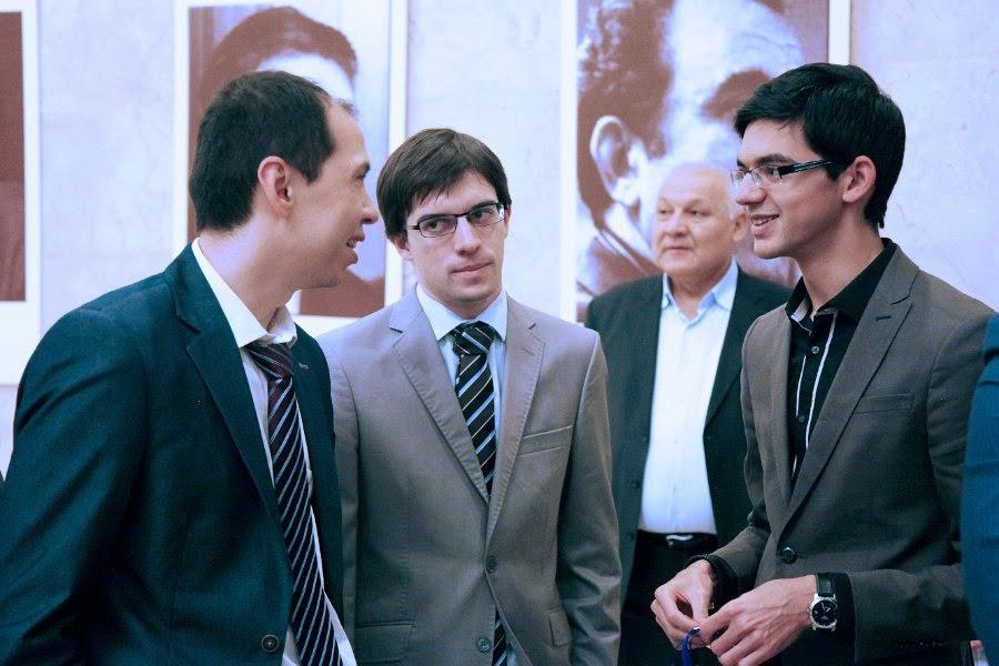 Kasimdjanov, MVL et Giri au tournoi d'échecs de Tashkent - Photo � Anastasia Karlovich
