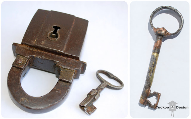 antique baroque lock with key