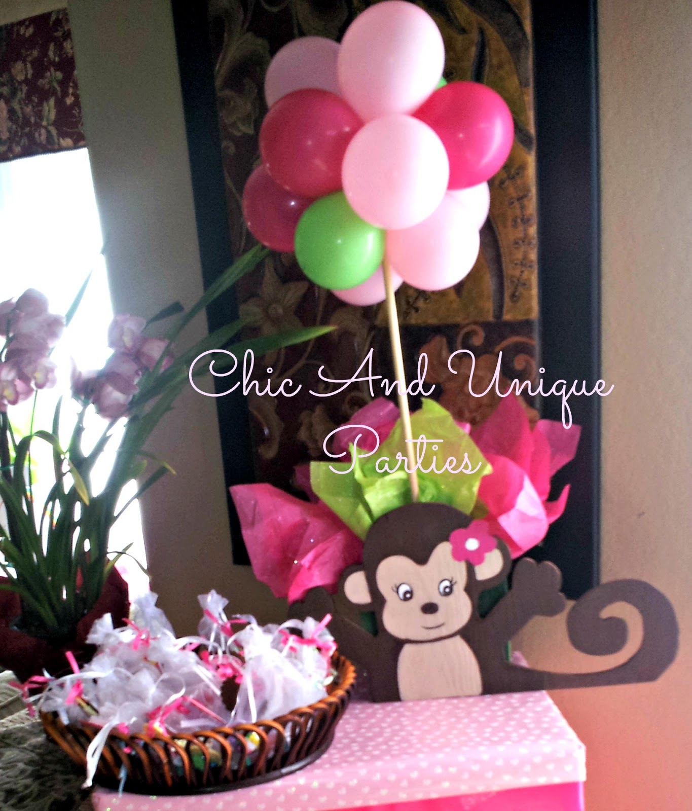 Chic and unique parties girl monkey baby shower - Baby shower monkey decorations for a girl ...