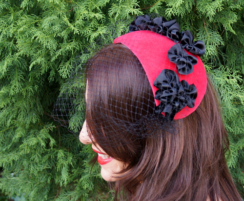 Tanith Rowan: Cherry Velvet Fifties Hat