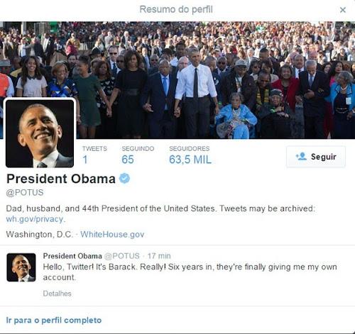Barack Obama faz primeiro post em sua conta no Twitter! POTUS
