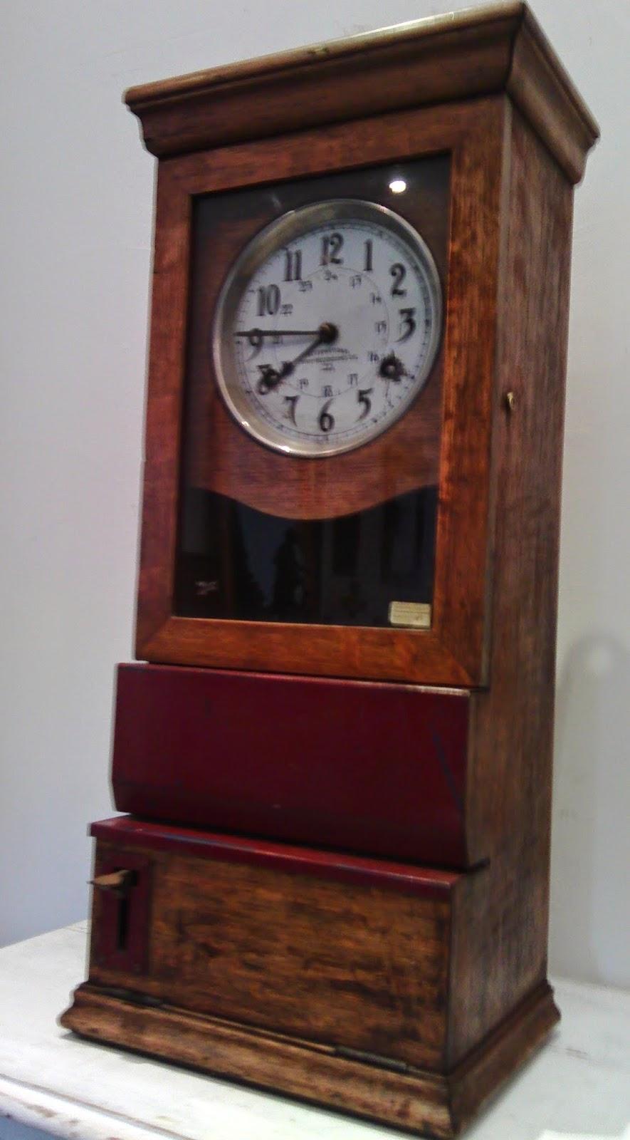 pendule horloge pointeuse bois international time recording cie paris made us xx ebay