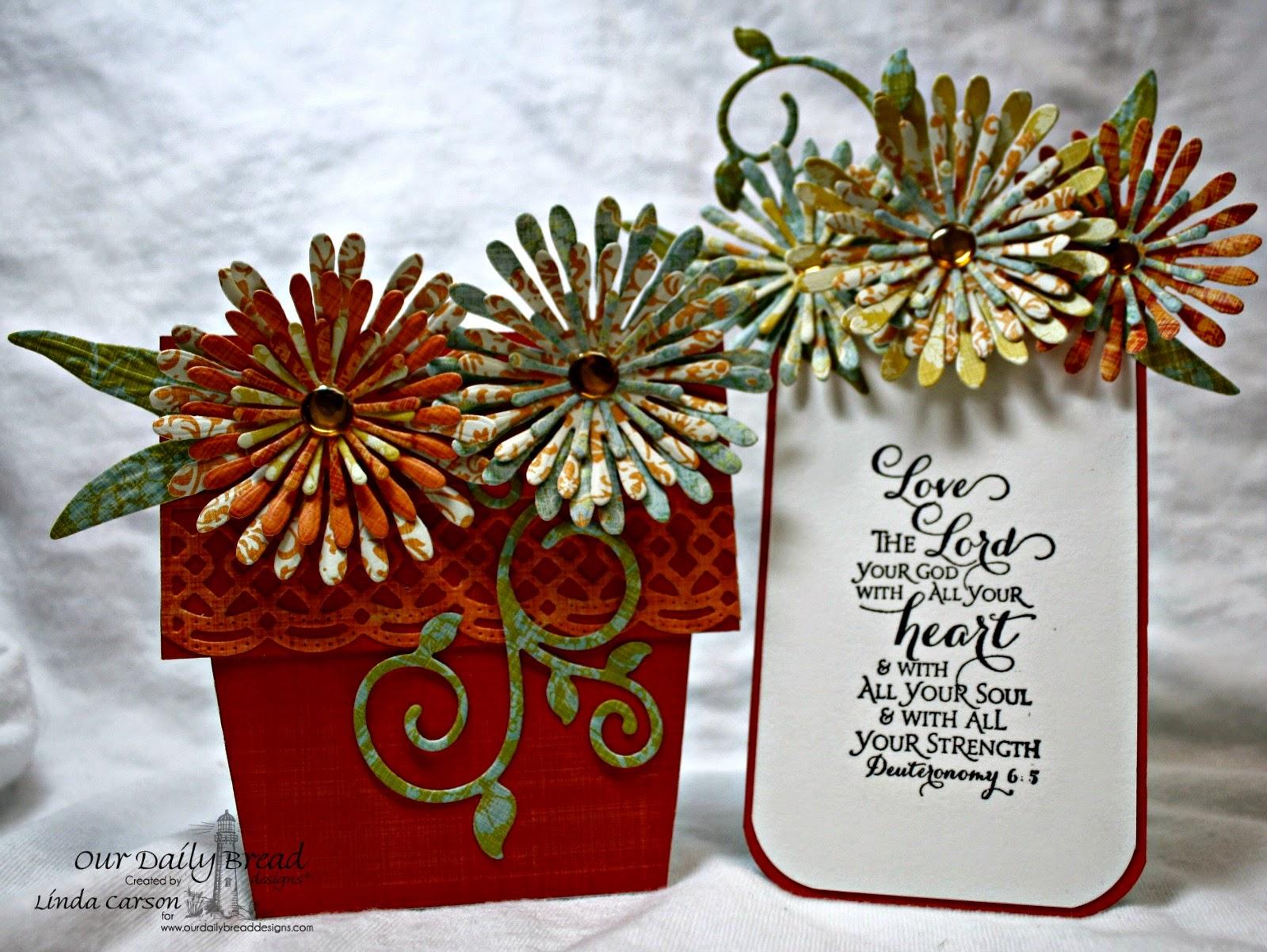 Our Daily Bread Designs, Beautiful Border dies, Aster dies, Fancy Foliage dies, Scripture Series 3, Flower Pot Fancy Fold cards, designer Linda Carson